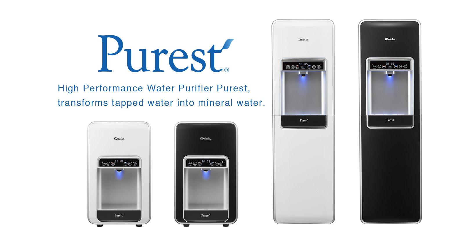 Purest High Performance Water Purifier Purest, transforms tapped water into mineral water.